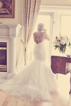 Silk wedding gown Trumpet strapeless couture