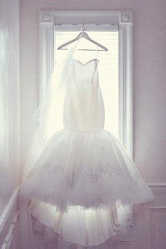 Trumpet silk organza  tulle wedding gown