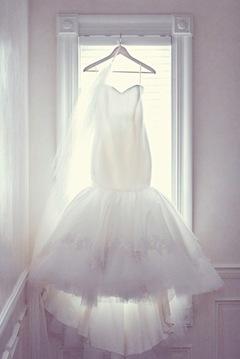 Trumpet silk organza  tulle wedding gown