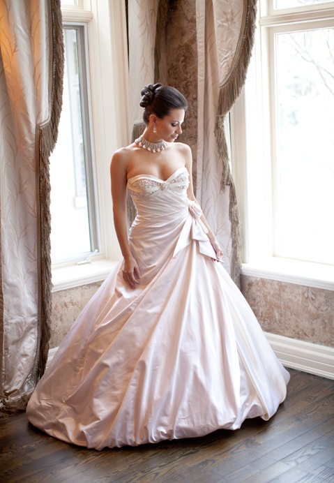 Valencienne pink and ivory bridal gown encrusted with Swarovski crystals