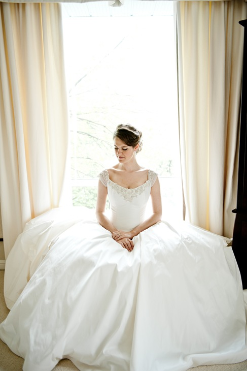Ballroom wedding gown cap sleeve valencienne bridal