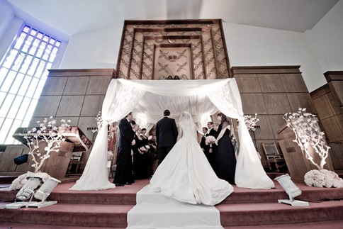 Beth Sholom Synagogue silk custom wedding dress valencienne