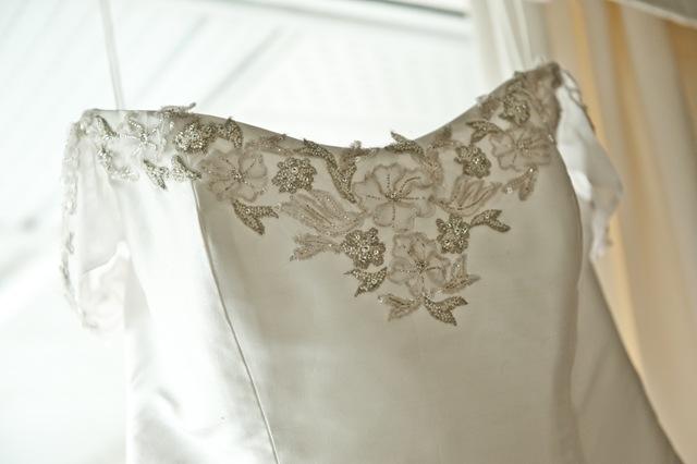 Silk wedding dress embroidery