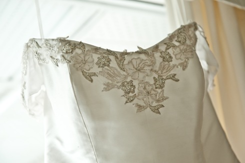 Silk wedding dress embroidery valencienne bridal