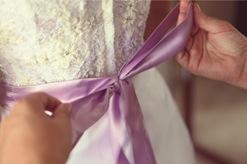 Bustier beaded wedding gown, toronto ,Valencienne,custom ,bridal gown,lavender ribbon sash