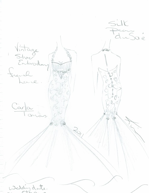 Valencienne sketch, custom design ,silk wedding gowns ,mermaid wedding gown.halter neck. couture.