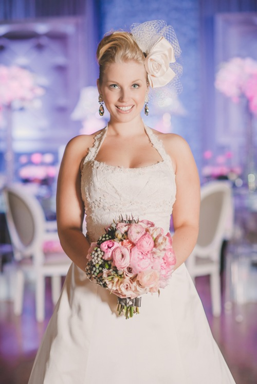 Valencienne toronto bridal gown blush pink a-line gown french lace