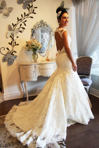 Valencienne Bridal Store Toronto, French Lace and Silk Mermaid wedding gown-