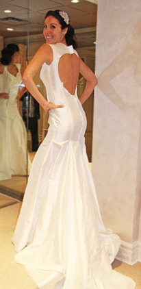 Valencienne Toronto Custom backless trumpet gown muslin fitting bespoke bridal gown