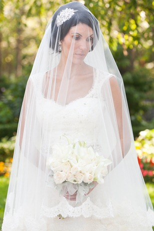 Valencienne Toronto French Lace Trumpet Gown with French Lace Veil