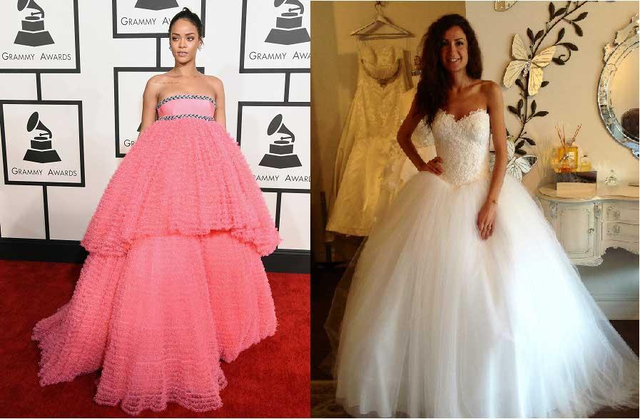 Valencienne Bridal, Custom Design, Ball Gown, French Lace, Grammys 2015, Silk, Tulle, Ballroom Skirt