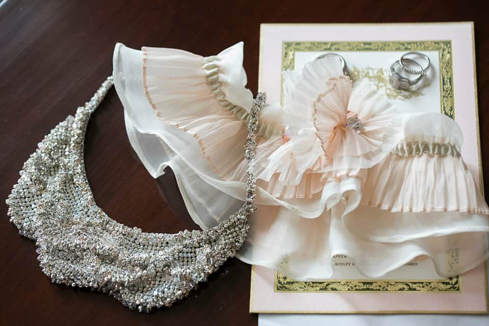 Valencienne, Custom Bridal Design, Plus Size Bride, Ruffles, Ball Gown, Veil, Garter, Necklace, Head Piece
