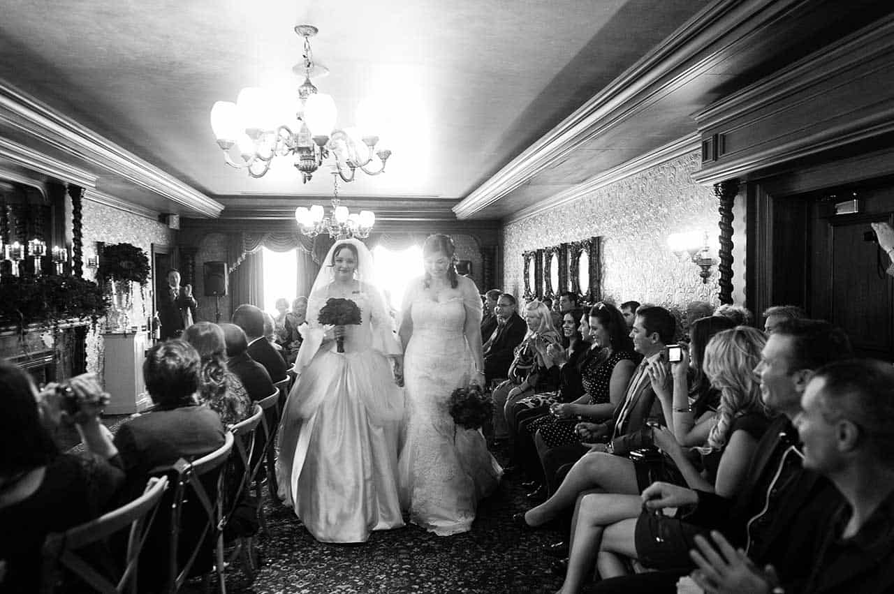 Lesbian Brides in Valencienne Custom Couture Bridal Gowns
