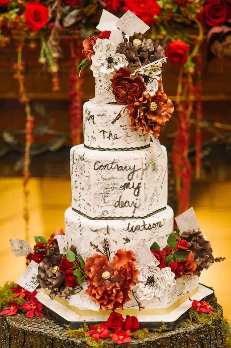 Sherlock Holmes Wedding Cake Design by The Caketress