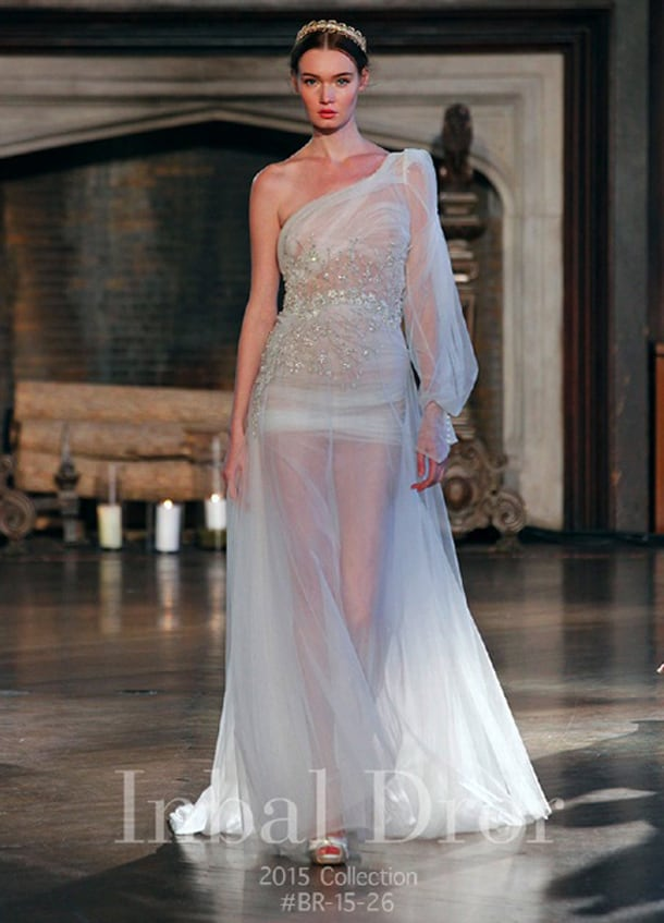 New York Bridal Market, Wedding Dresses, Bridal, Sheer Bridal Gown, One Shoulder, Valencienne Bridal, Toronto